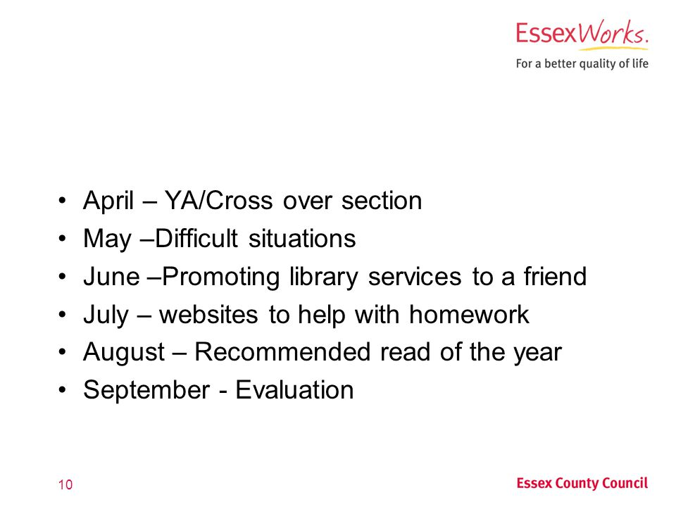 April – YA/Cross over section May –Difficult situations June –Promoting library services to a friend July – websites to help with homework August – Recommended read of the year September - Evaluation 10