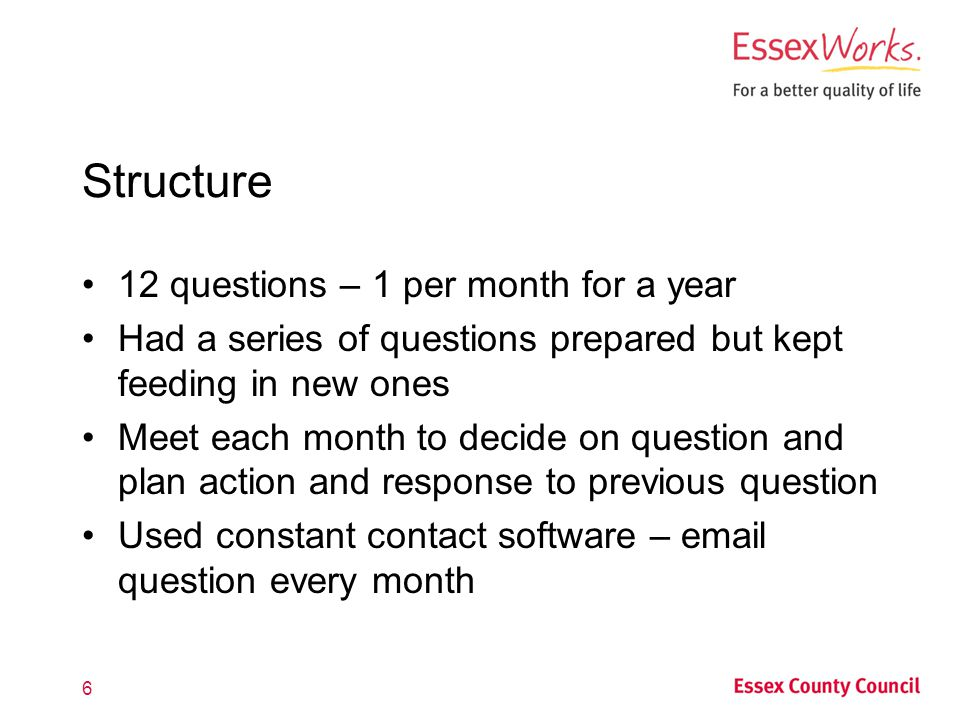 Structure 12 questions – 1 per month for a year Had a series of questions prepared but kept feeding in new ones Meet each month to decide on question and plan action and response to previous question Used constant contact software – email question every month 6