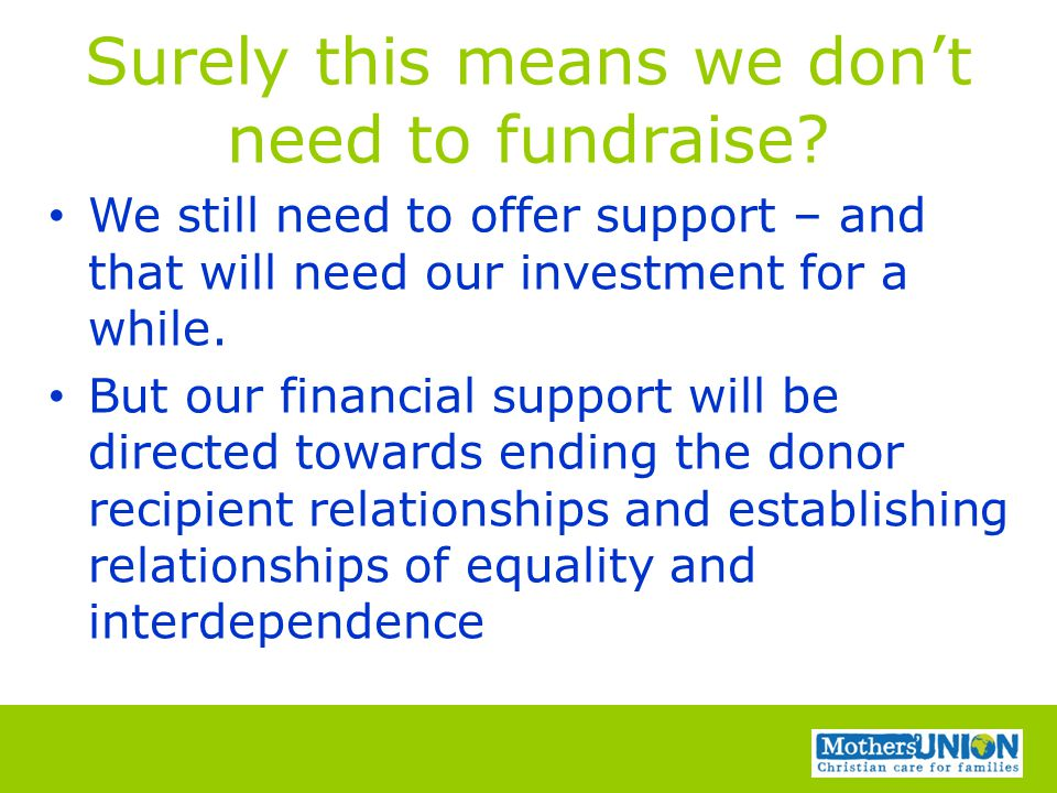 Surely this means we don't need to fundraise.