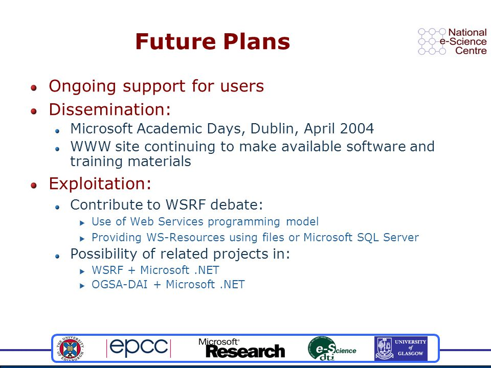 Future Plans Ongoing support for users Dissemination: Microsoft Academic Days, Dublin, April 2004 WWW site continuing to make available software and training materials Exploitation: Contribute to WSRF debate:  Use of Web Services programming model  Providing WS-Resources using files or Microsoft SQL Server Possibility of related projects in:  WSRF + Microsoft.NET  OGSA-DAI + Microsoft.NET