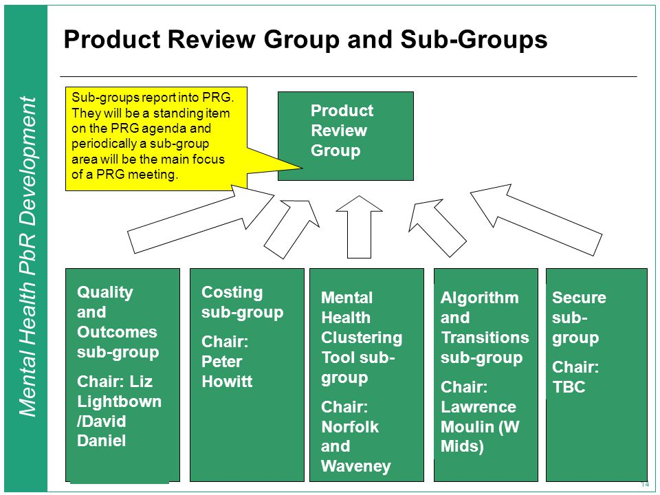 Mental Health PbR Development 14 Product Review Group and Sub-Groups Product Review Group Quality and Outcomes sub-group Chair: Liz Lightbown /David Daniel Costing sub-group Chair: Peter Howitt Algorithm and Transitions sub-group Chair: Lawrence Moulin (W Mids) Mental Health Clustering Tool sub- group Chair: Norfolk and Waveney Sub-groups report into PRG.