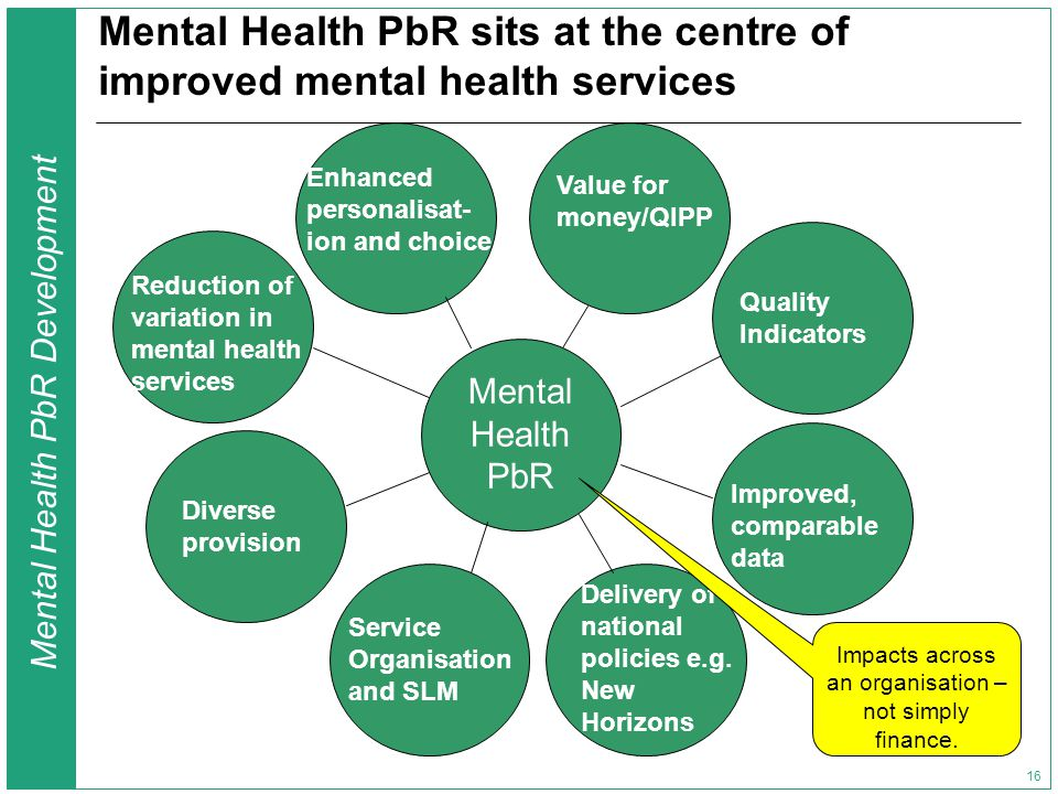 Mental Health PbR Development 16 Mental Health PbR sits at the centre of improved mental health services Mental Health PbR Quality Indicators Reduction of variation in mental health services Service Organisation and SLM Delivery of national policies e.g.