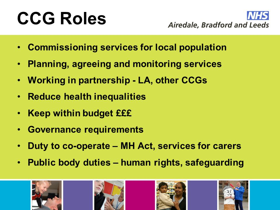 CCG Roles Commissioning services for local population Planning, agreeing and monitoring services Working in partnership - LA, other CCGs Reduce health inequalities Keep within budget £££ Governance requirements Duty to co-operate – MH Act, services for carers Public body duties – human rights, safeguarding