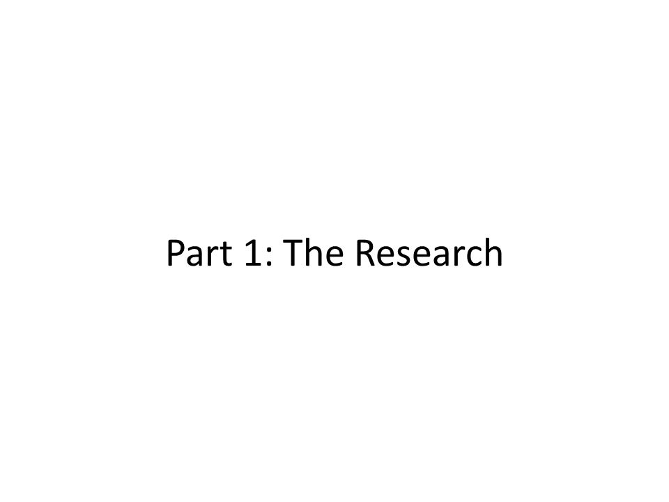 Part 1: The Research