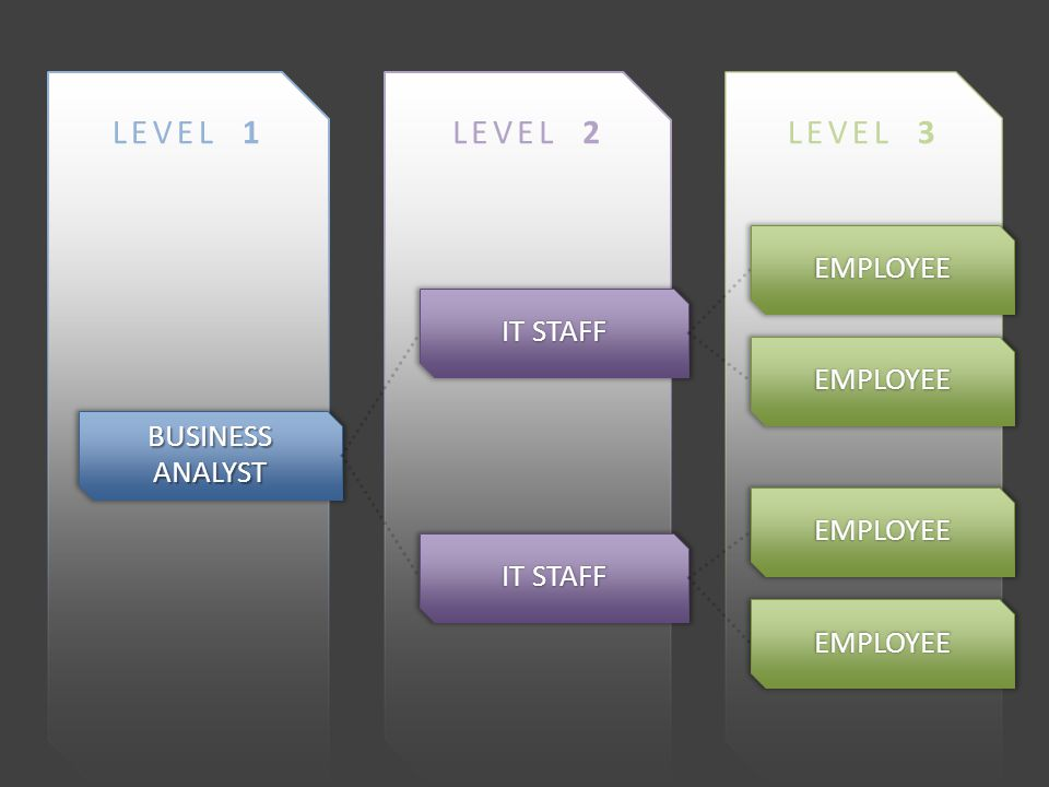 LEVEL 3LEVEL 2LEVEL 1 BUSINESS ANALYST IT STAFF EMPLOYEE EMPLOYEE EMPLOYEE EMPLOYEE