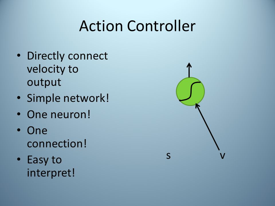 Action Controller Directly connect velocity to output Simple network.