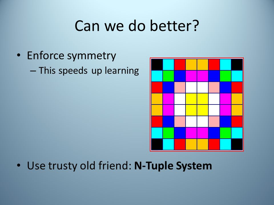 Can we do better Enforce symmetry – This speeds up learning Use trusty old friend: N-Tuple System