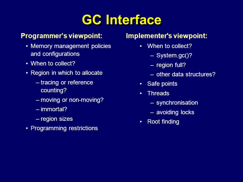 © Richard Jones, Eric Jul, 1999-2004mmnet GC & MM Summer School, 20-21 July 200452 GC Interface Programmer's viewpoint: Memory management policies and configurations When to collect.
