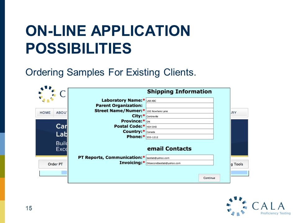 ON-LINE APPLICATION POSSIBILITIES Ordering Samples For Existing Clients. 15