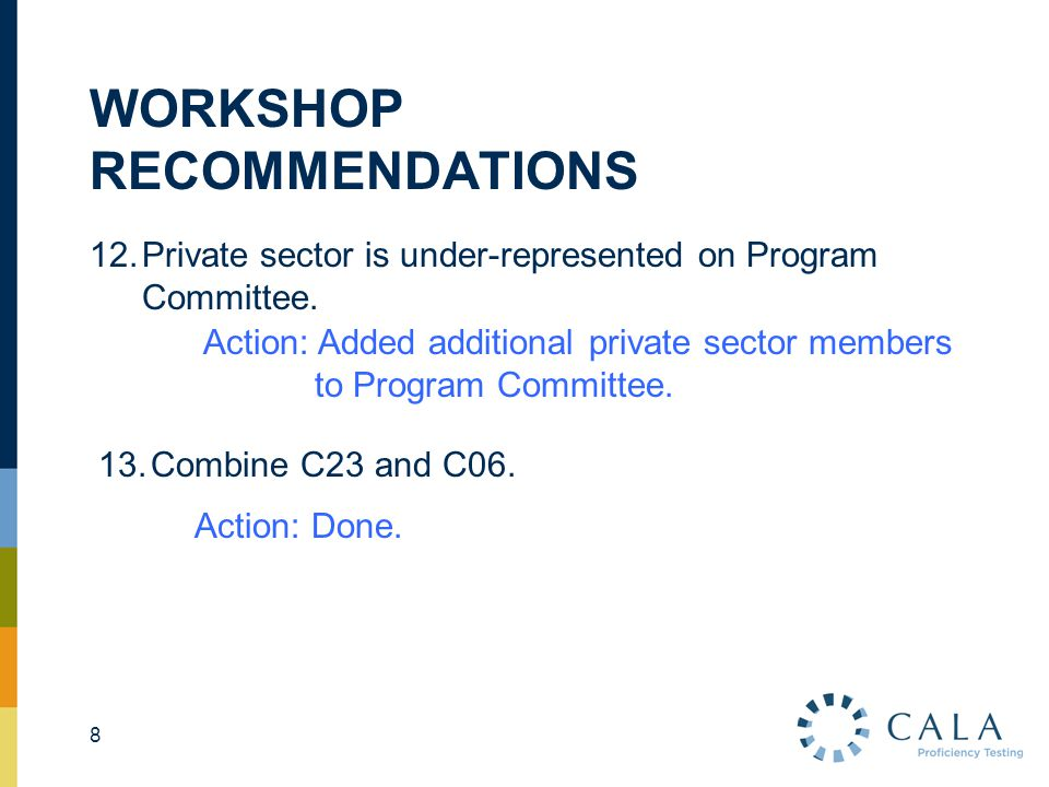WORKSHOP RECOMMENDATIONS 12.Private sector is under-represented on Program Committee.