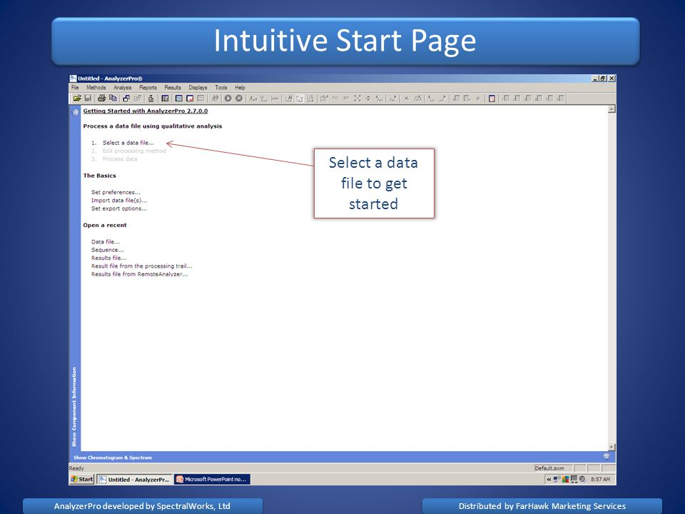 Intuitive Start Page Select a data file to get started