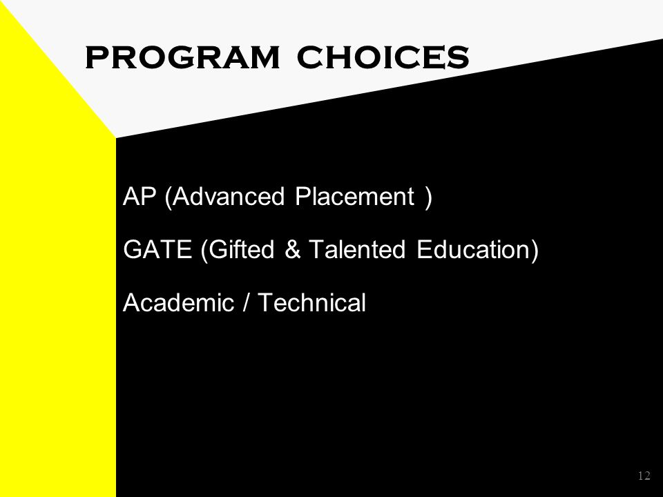12 PROGRAM CHOICES AP (Advanced Placement ) GATE (Gifted & Talented Education) Academic / Technical
