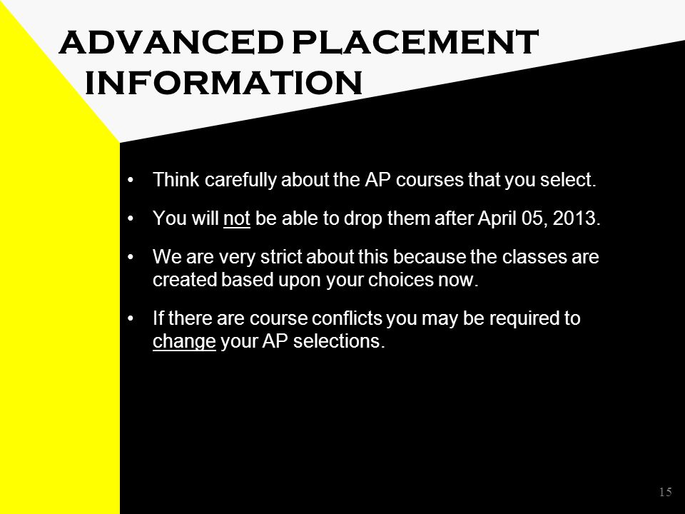 15 ADVANCED PLACEMENT INFORMATION Think carefully about the AP courses that you select.