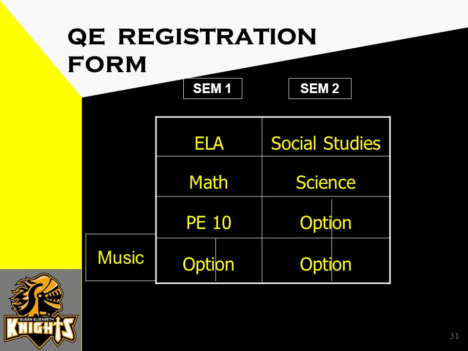 31 QE REGISTRATION FORM ELASocial Studies MathScience PE 10Option SEM 1SEM 2 Music