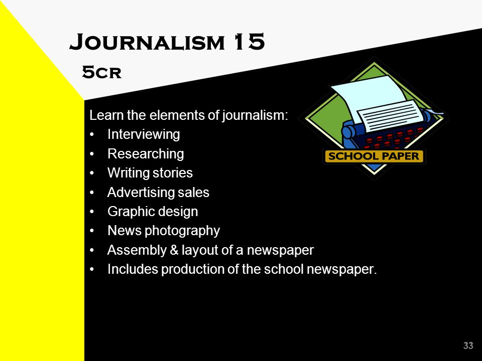 33 Journalism 15 5cr Learn the elements of journalism: Interviewing Researching Writing stories Advertising sales Graphic design News photography Assembly & layout of a newspaper Includes production of the school newspaper.
