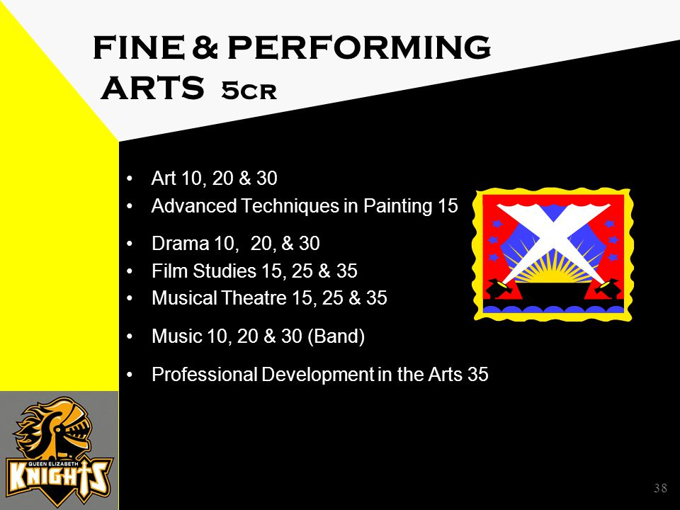 FINE & PERFORMING ARTS 5cr Art 10, 20 & 30 Advanced Techniques in Painting 15 Drama 10, 20, & 30 Film Studies 15, 25 & 35 Musical Theatre 15, 25 & 35 Music 10, 20 & 30 (Band) Professional Development in the Arts 35 38