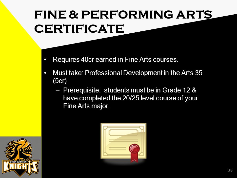 39 FINE & PERFORMING ARTS CERTIFICATE Requires 40cr earned in Fine Arts courses.