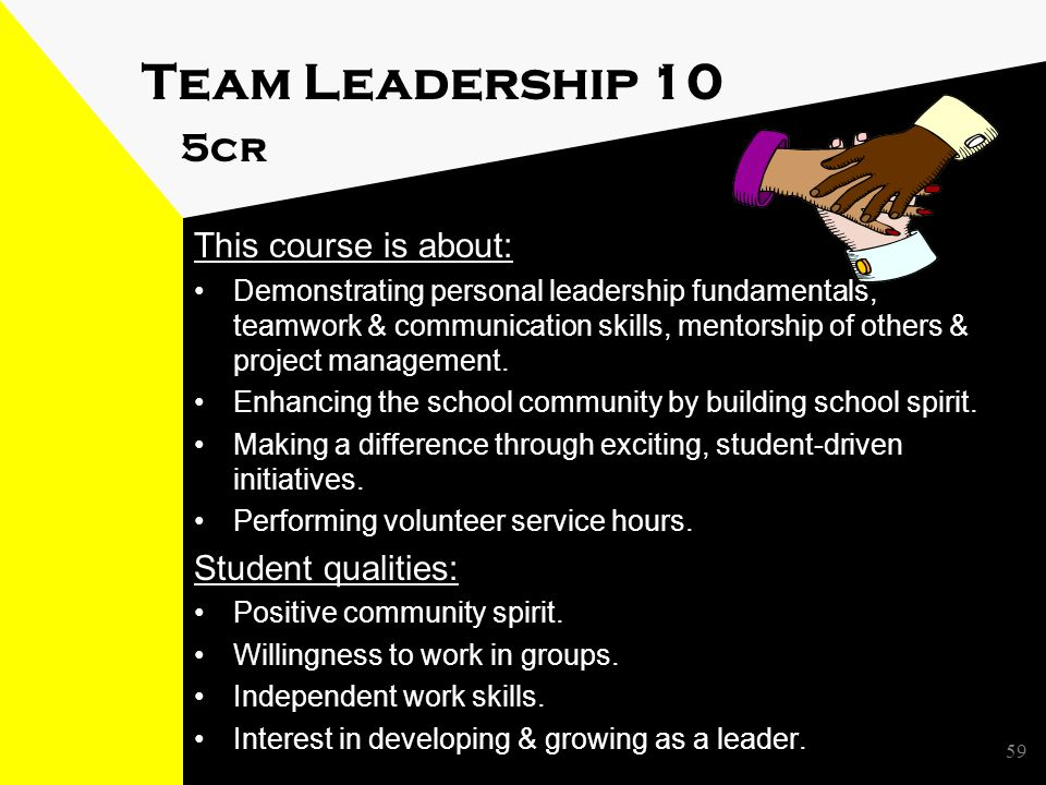59 Team Leadership 10 5cr This course is about: Demonstrating personal leadership fundamentals, teamwork & communication skills, mentorship of others & project management.
