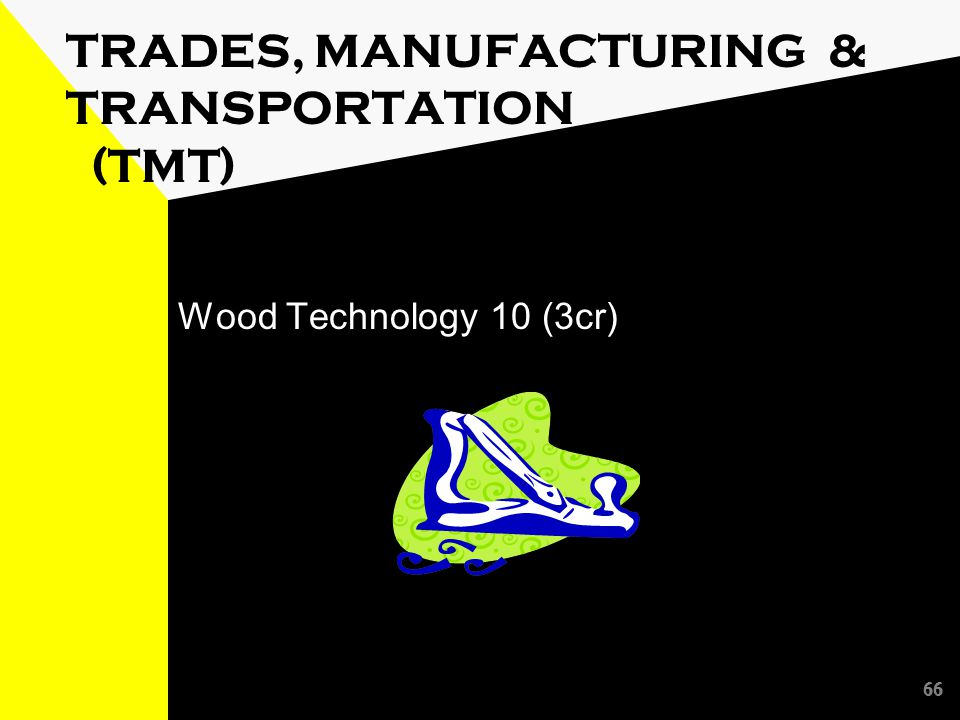 66 TRADES, MANUFACTURING & TRANSPORTATION (TMT) Wood Technology 10 (3cr) 66