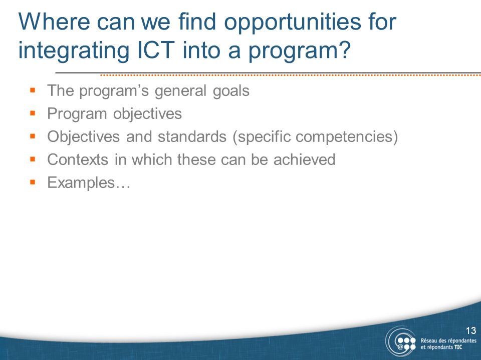 Where can we find opportunities for integrating ICT into a program.
