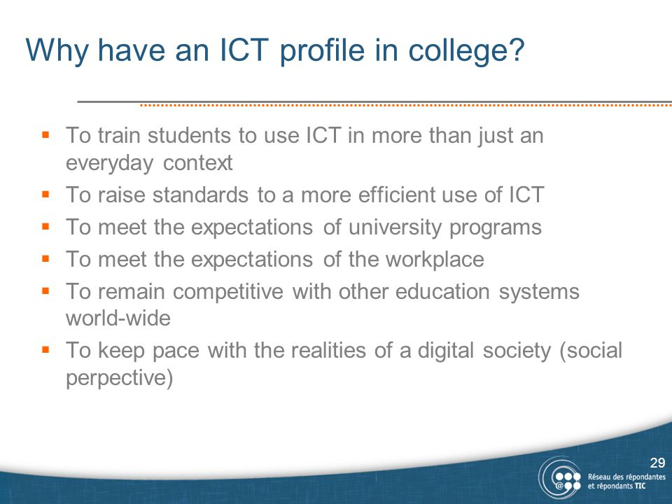 Why have an ICT profile in college.