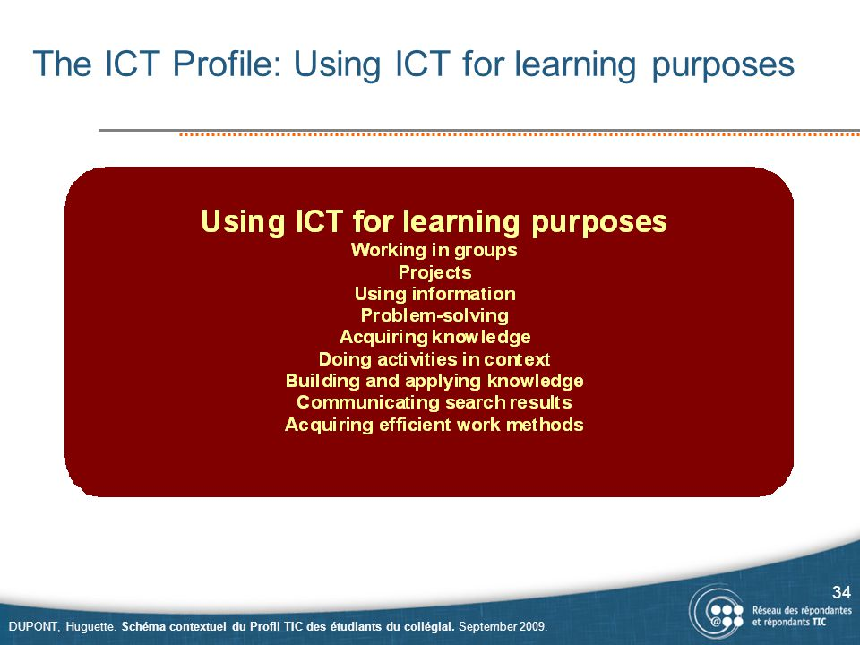 The ICT Profile: Using ICT for learning purposes 34 DUPONT, Huguette.