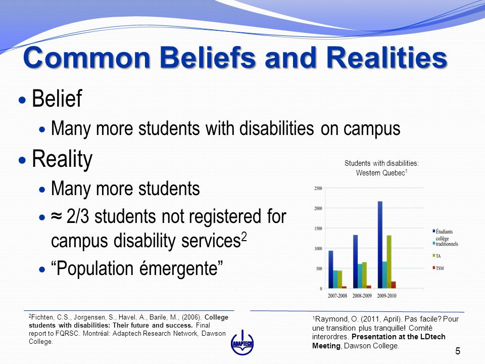 Common Beliefs and Realities Belief Many more students with disabilities on campus Reality Many more students ≈ 2/3 students not registered for campus disability services 2 Population émergente 1 Raymond, O.