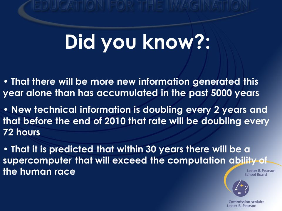 Did you know : That there will be more new information generated this year alone than has accumulated in the past 5000 years New technical information is doubling every 2 years and that before the end of 2010 that rate will be doubling every 72 hours That it is predicted that within 30 years there will be a supercomputer that will exceed the computation ability of the human race