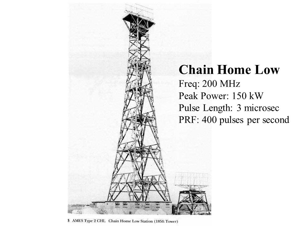 Chain Home Low Freq: 200 MHz Peak Power: 150 kW Pulse Length: 3 microsec PRF: 400 pulses per second