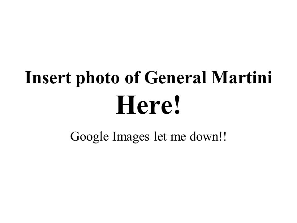Insert photo of General Martini Here! Google Images let me down!!