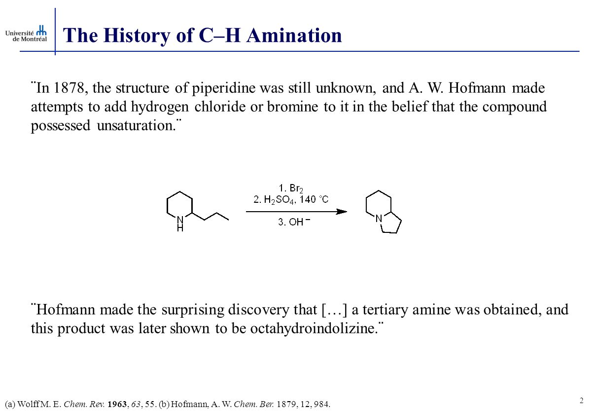 The History of C–H Amination (a) Wolff M. E. Chem.