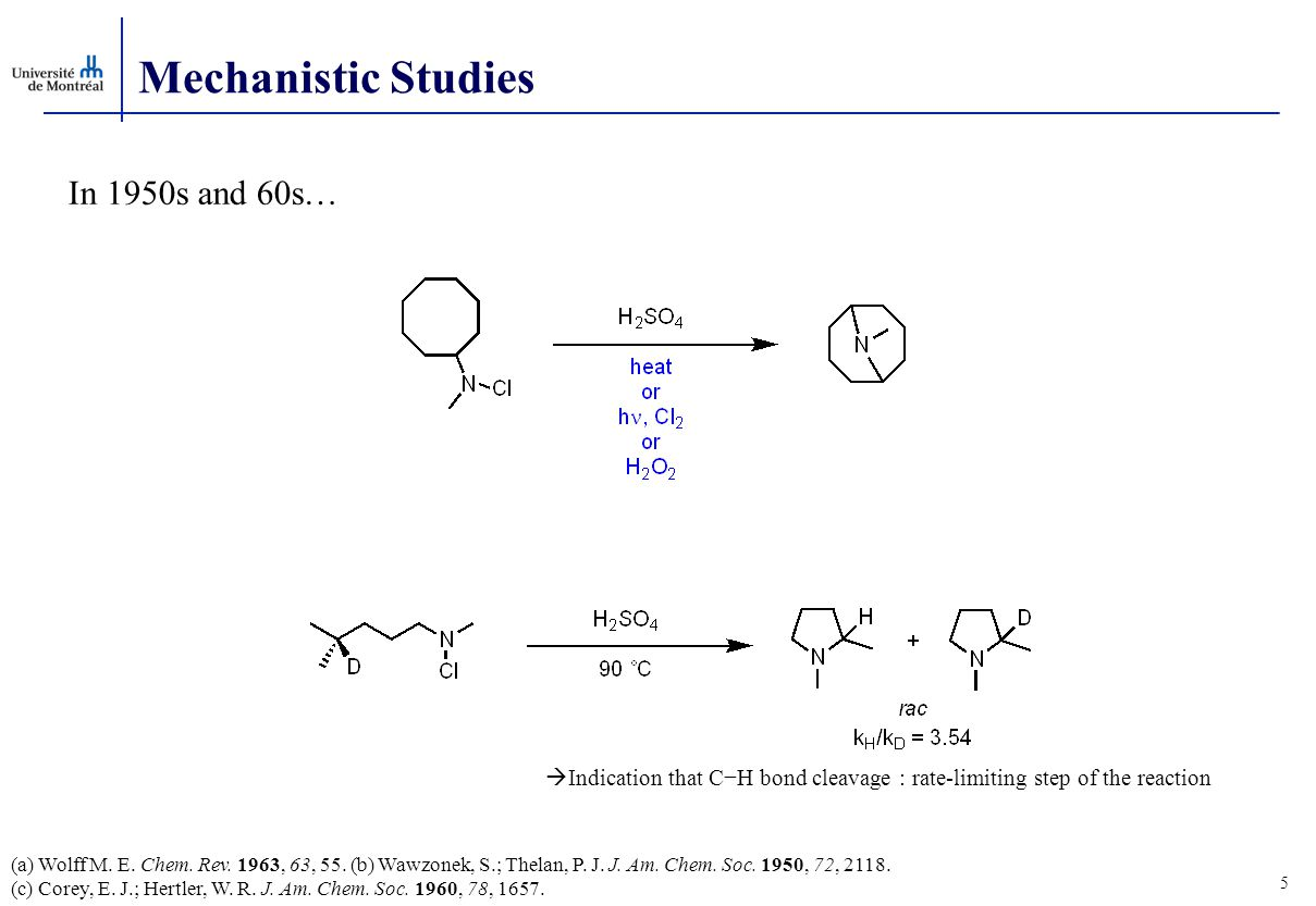 Mechanistic Studies In 1950s and 60s…  Indication that C−H bond cleavage : rate-limiting step of the reaction (a) Wolff M.