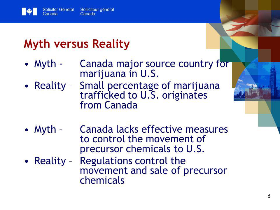 6 Myth versus Reality Myth - Canada major source country for marijuana in U.S.