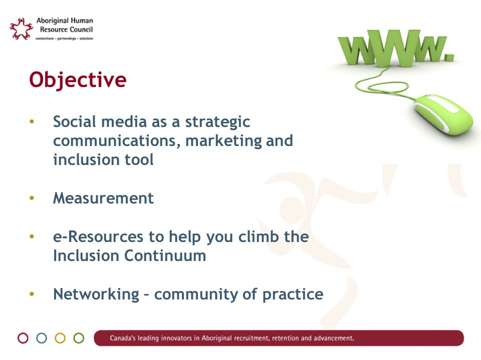 Objective Social media as a strategic communications, marketing and inclusion tool Measurement e-Resources to help you climb the Inclusion Continuum Networking – community of practice