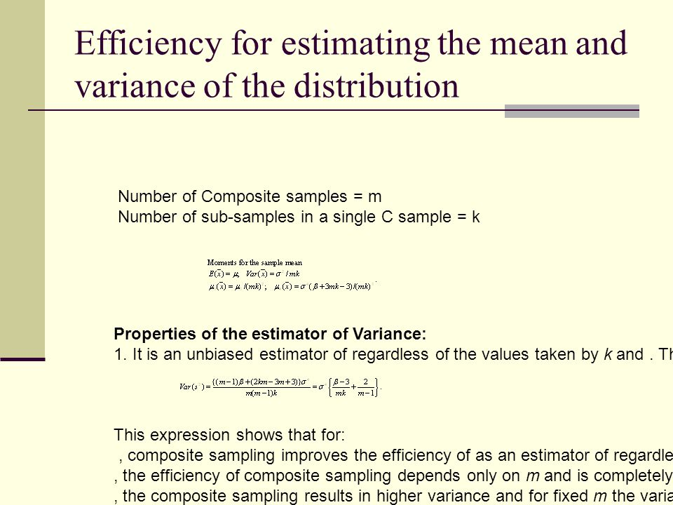 Efficiency for estimating the mean and variance of the distribution Number of Composite samples = m Number of sub-samples in a single C sample = k Properties of the estimator of Variance: 1.