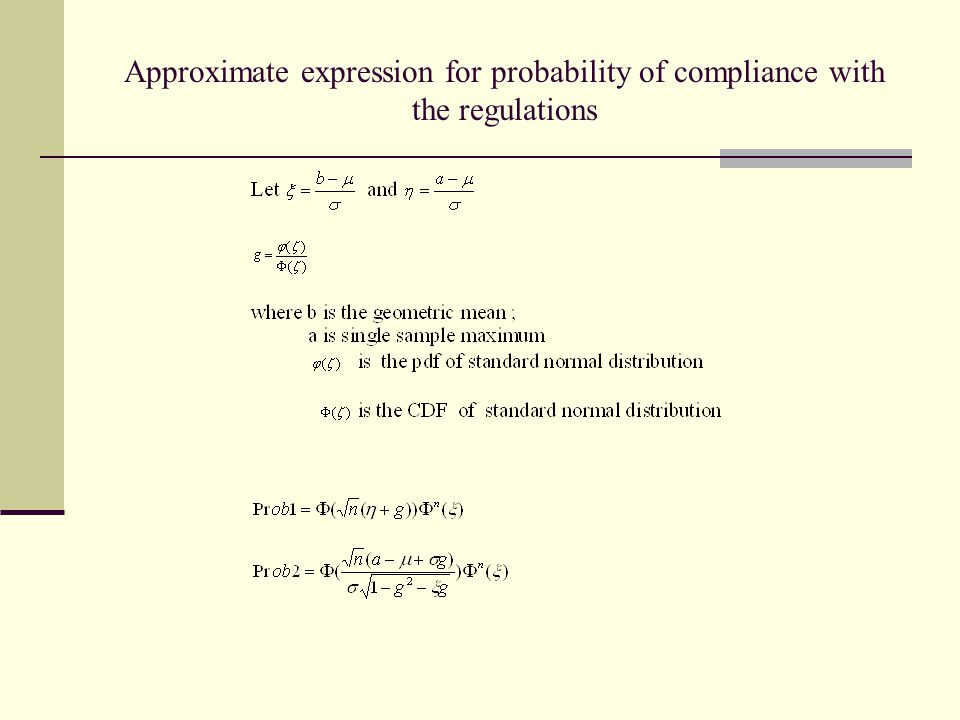 Approximate expression for probability of compliance with the regulations