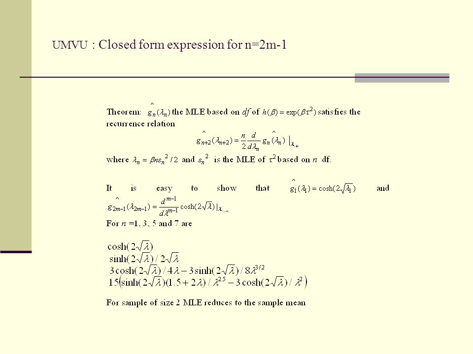 UMVU : Closed form expression for n=2m-1