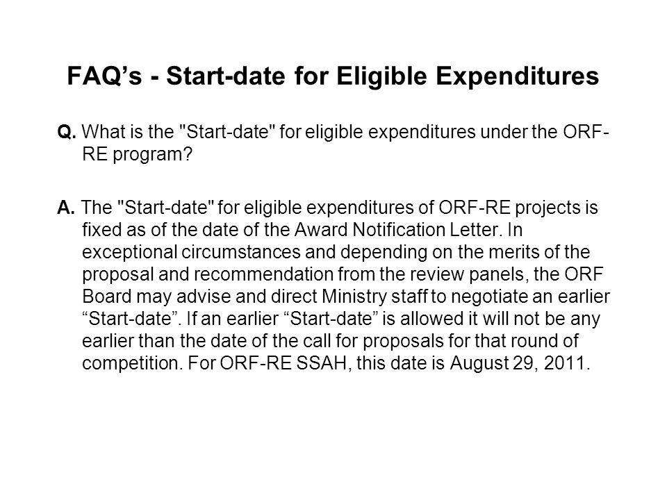 FAQ's - Start-date for Eligible Expenditures Q.