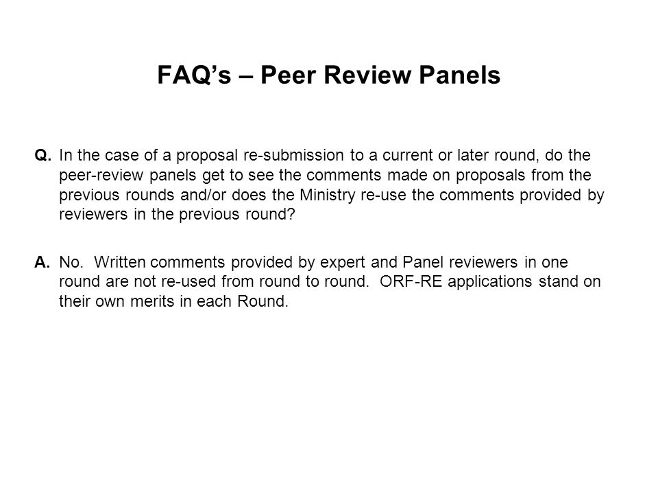 FAQ's – Peer Review Panels Q.