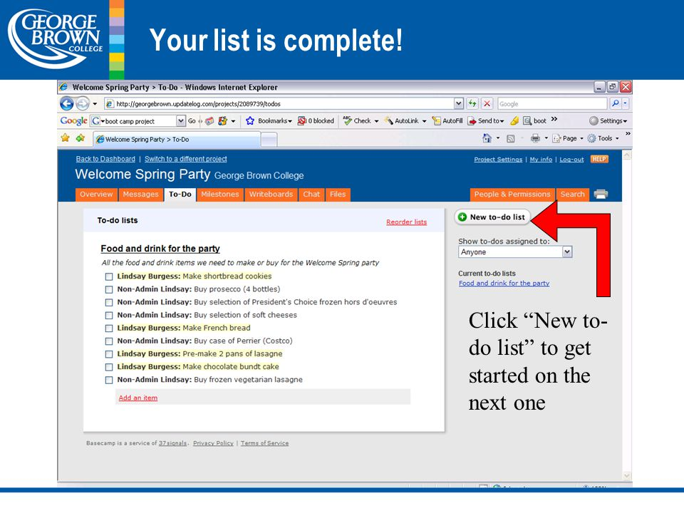 Your list is complete! Click New to- do list to get started on the next one