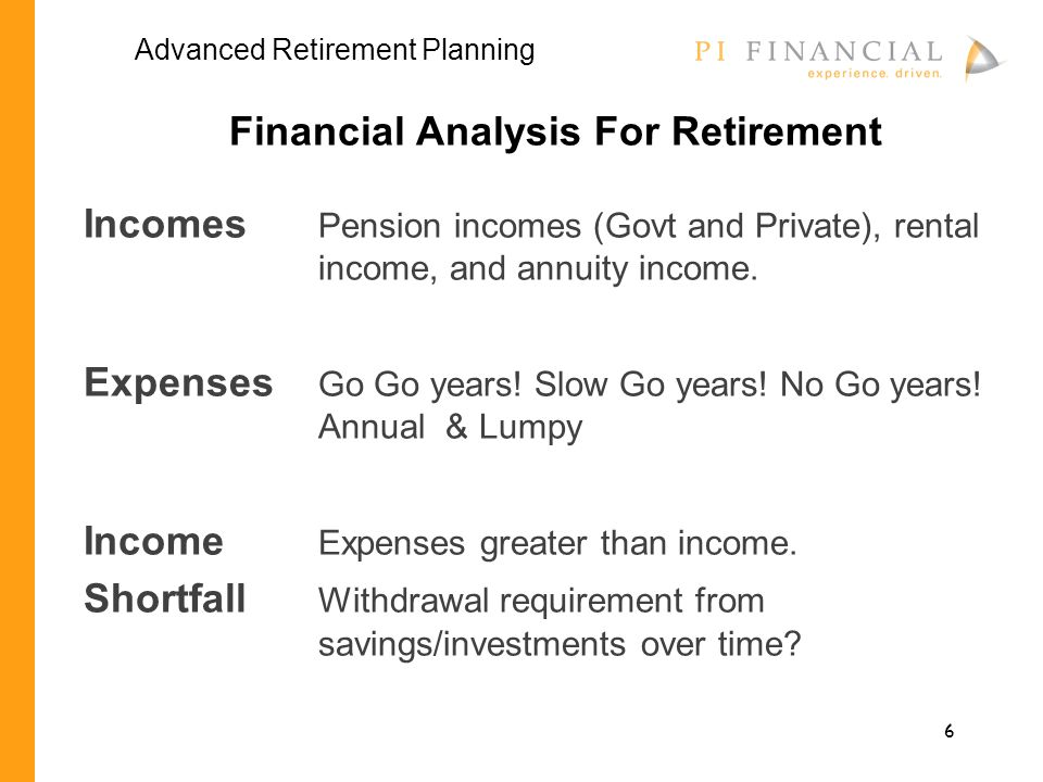 6 Financial Analysis For Retirement Incomes Pension incomes (Govt and Private), rental income, and annuity income.