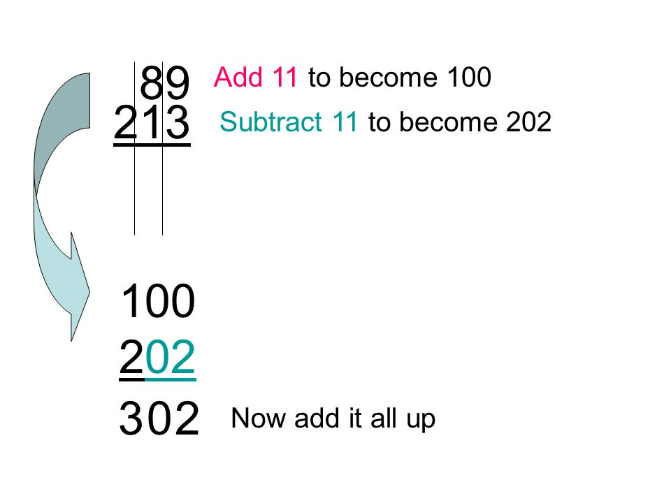 89 213 Add 11 to become 100 Subtract 11 to become 202 Now add it all up 100 202 302