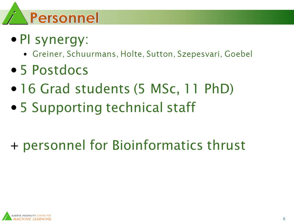 6 PI synergy: Greiner, Schuurmans, Holte, Sutton, Szepesvari, Goebel 5 Postdocs 16 Grad students (5 MSc, 11 PhD) 5 Supporting technical staff + personnel for Bioinformatics thrust
