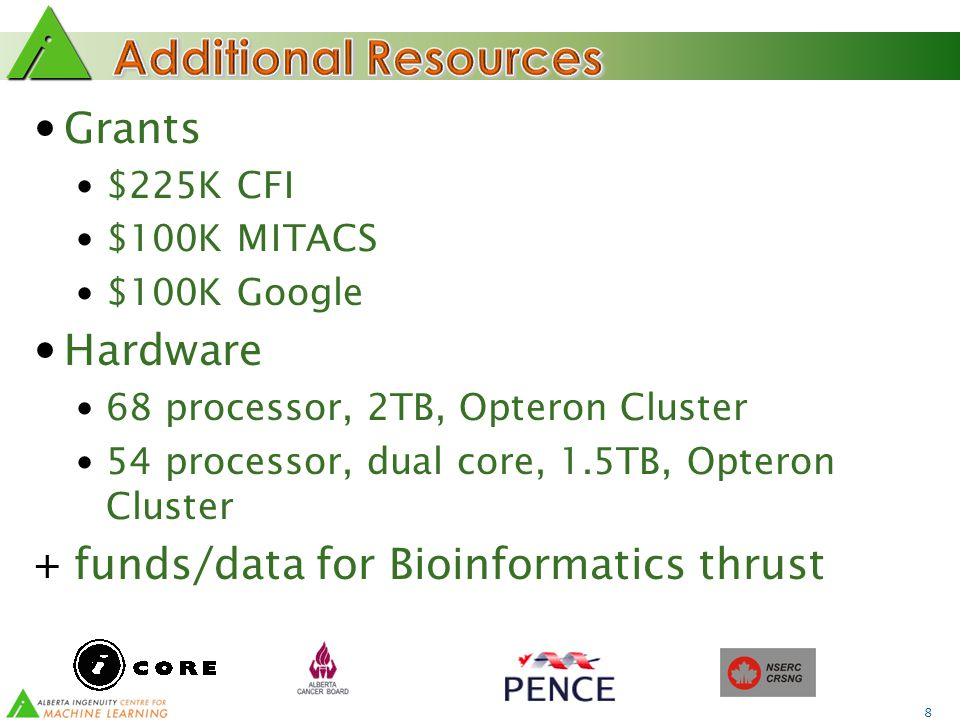 8 Grants $225K CFI $100K MITACS $100K Google Hardware 68 processor, 2TB, Opteron Cluster 54 processor, dual core, 1.5TB, Opteron Cluster + funds/data for Bioinformatics thrust