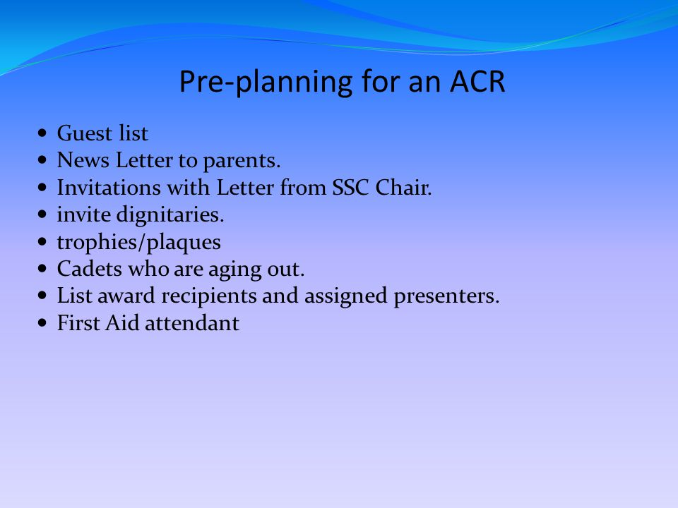 Pre-planning for an ACR Guest list News Letter to parents.