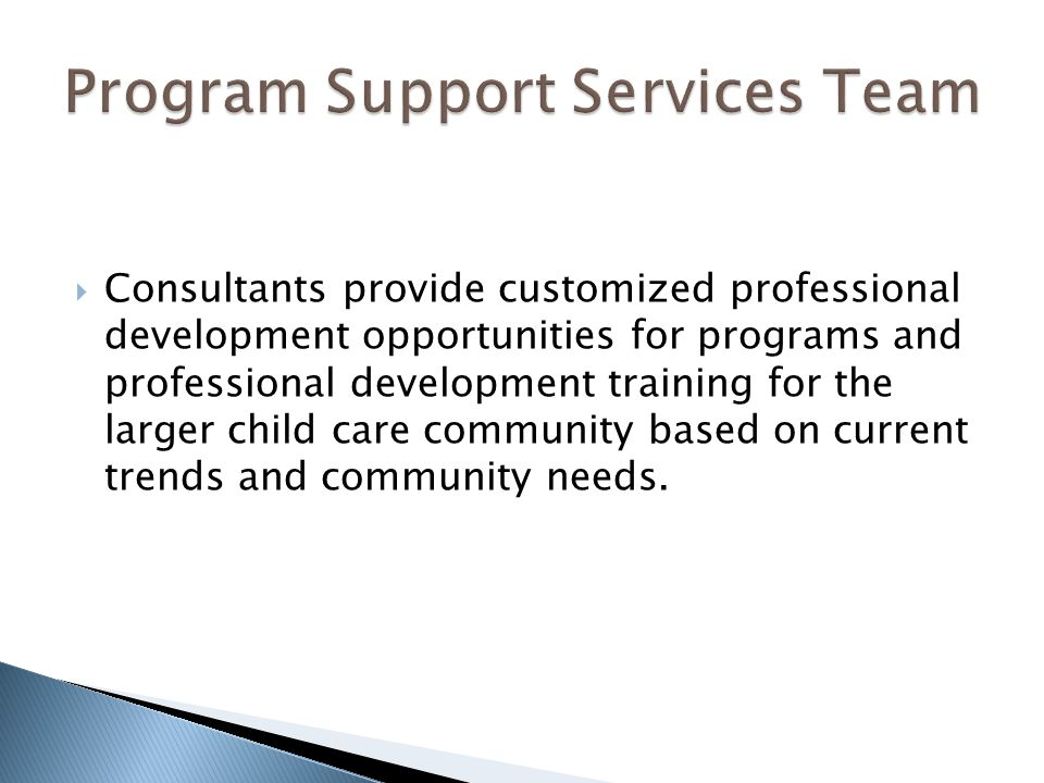  Consultants provide customized professional development opportunities for programs and professional development training for the larger child care community based on current trends and community needs.