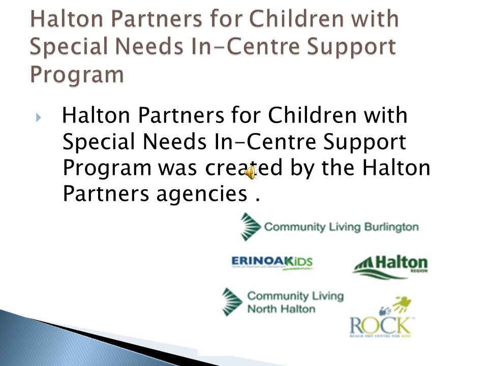  Halton Partners for Children with Special Needs In-Centre Support Program was created by the Halton Partners agencies.