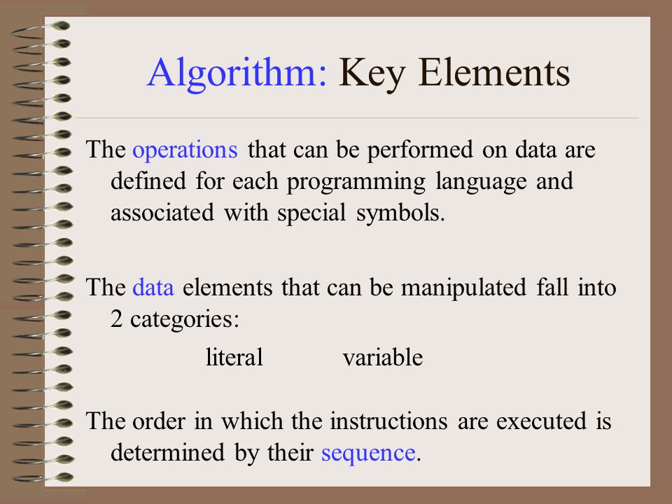 Algorithm: Key Elements The operations that can be performed on data are defined for each programming language and associated with special symbols.