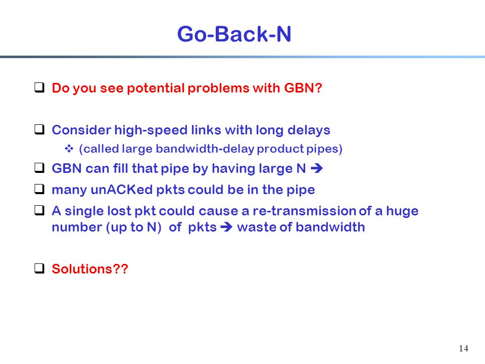 14 Go-Back-N  Do you see potential problems with GBN.