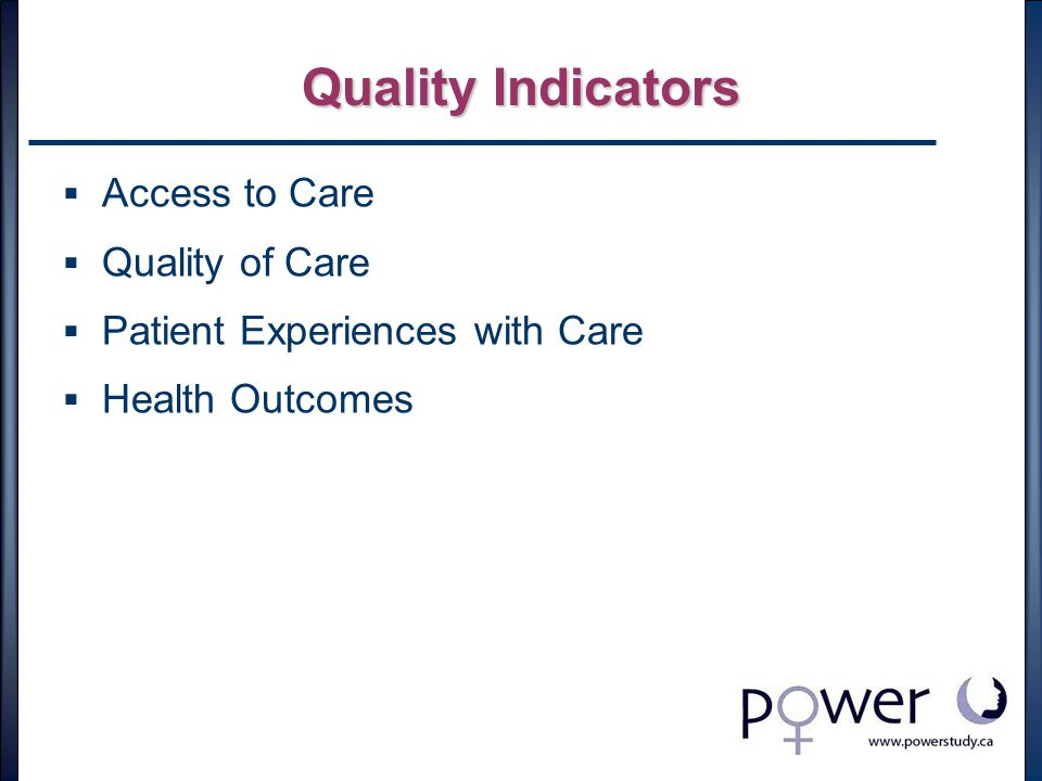 Quality Indicators  Access to Care  Quality of Care  Patient Experiences with Care  Health Outcomes